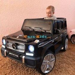 Электромобиль Mercedes-Benz G65 AMG черный (АКБ 12v 10ah, колеса резина, сиденье кожа, пульт, музыка)