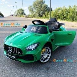 Электромобиль Mercedes-Benz GTR AMG зеленый (колеса резина, кресло кожа, пульт, музыка)