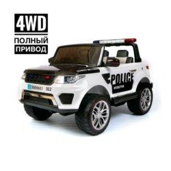 Электромобиль Range Rover XMX601(Happer) Police черно-белый (легкосъемный акб, 2х местный, полный привод, колеса резина, кресло кожа, пульт, музыка)