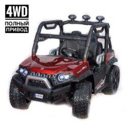 Электромобиль Багги 3314 DLS02A красный (полный привод, резиновые колеса, кожаное кресло, пульт, музыка)